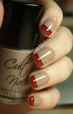 Camel with red and black french tip