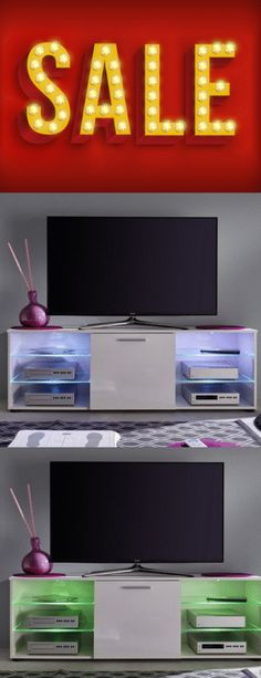 Designs in glass, wood & high gloss with multi led lights! White Tv Stands, Black Tv Stand, Cool Tv Stands, Black Gloss Tv Unit, High Gloss Tv Unit, Tv Stand With Led Lights, Tv Stand Furniture, Tv Lighting, Corner Tv Unit