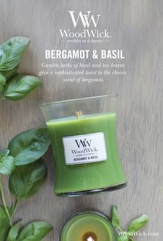 Garden herbs with basil and tea leaves give a sophisticated twist to the classic scents of lemon and bergamot. WoodWick® candles use a natural, wooden wick that creates the soothing sound of a crackling fire #bergamot #basil #herbal #fragrance #woodwick #candle #crackles