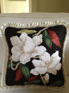 Magnolia needlepoint pillow