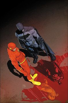 DC Comics The Flash and Batman (by: Mikel Janin). Héros Dc Comics, Heros Comics, Dc Comics Characters, Dc Heroes, Comic Book Covers, Comic Books Art, Comic Art, Batman Art, Batman And Superman