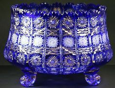 Bohemian Czech Queen Lace Cobalt Blue Lead Cut to Clear Crystal Bowl 12""