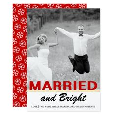 #Trendy newlywed red Christmas flat photo card - #Xmas #ChristmasEve Christmas Eve #Christmas #merry #xmas #family #kids #gifts #holidays #Santa