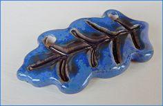 "Stoneware Pendant ""Blue Leaf"" from MAJOYOAL by DaWanda.com"