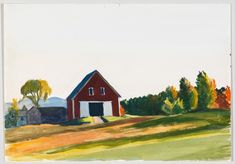Edward Hopper Red Barn in Autumn Landscape, Watercolor and graphite pencil on paper. Whitney Museum of American Art, New York; Josephine N. © Heirs of Josephine N. Hopper, licensed by the Whitney Museum of American. American Realism, American Art, Edward Hopper, Minimalist Painting, Whitney Museum, Vintage Postcards, Art Reference, Fine Art, Landscape