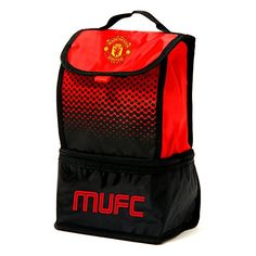 Manchester United FC Official Fade Insulated FootballSoccer Crest Lunch Bag One Size RedBlack ** To view further for this item, visit the image link.Note:It is affiliate link to Amazon.