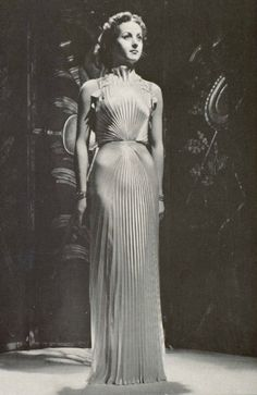 Pleated white satin, Nina Ricci, 1937 vintage fashion designer couture 30s 40s wear era gown evening formal long dress