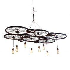 LIGHTING Bicycle Rims, Bicycle Wheel, Bike Craft, Industrial Style Lighting, Weekend Crafts, Black Lamps, Chandelier Lighting, Chandeliers, Pendant Lamp