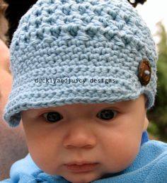 Crochet Baby Hat - Baby Boy Hat - Baby Girl Hat - Newsboy Cap with Brim and Button - 0-3 Months. $22.00, via Etsy.