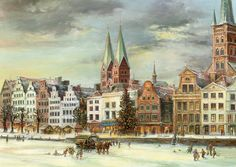 From Brück and Sohn (Printers in Meissen, Germany since 1793) a charming Advent Calendar of Lubeck with its Christmas Market. This delightful advent calendar is