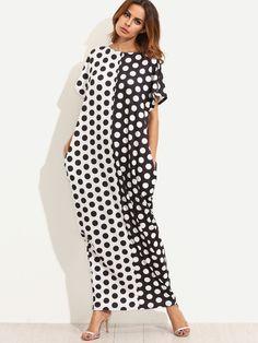 Robe longue à pois avec poches - noir blanc