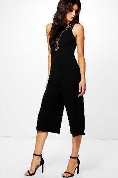 #boohoo Lace Detail Culotte Jumpsuit - black DZZ59001 #Tia Lace Detail Culotte Jumpsuit - black