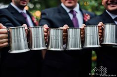 Custom engraved beer mugs for groomsmen gifts. Nicole and Charlie's fall inspired wedding at Laurel Creek Manor in Sumner, Washington photographed by local Seattle Wedding Photographer.