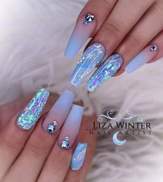 In search for some nail designs and some ideas for your nails? Here is our list of must-try coffin acrylic nails for stylish women. Blue Acrylic Nails, Summer Acrylic Nails, Blue Ombre Nails, Nail Summer, Gorgeous Nails, Pretty Nails, Gorgeous Gorgeous, Amazing Nails, Nagel Bling
