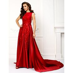 TS+Couture®+Formal+Evening+Dress+-+Burgundy+A-line+Jewel+Chapel+Train+Satin+–+USD+$+149.99