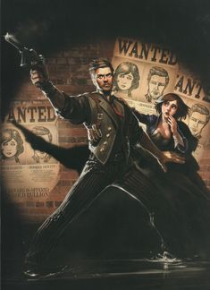 View an image titled 'Booker DeWitt & Elizabeth Art' in our BioShock Infinite art gallery featuring official character designs, concept art, and promo pictures. Bioshock Infinite, Bioshock Game, Bioshock Series, 1 John, Resident Evil, Dreamworks, Irrational Games, Infinite Art, Character Art