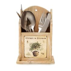 Cute wooden cutlery holder with a provencal twist
