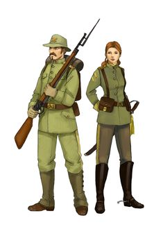 character class for steampunk RPG infantry guy and lady from the cavalery Soldiers Steampunk Characters, Fantasy Characters, Character Concept, Character Art, Military Drawings, Human Poses Reference, Female Armor, Medieval, Pulp
