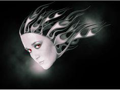 digital fire face by mu6.deviantart.com on @deviantART