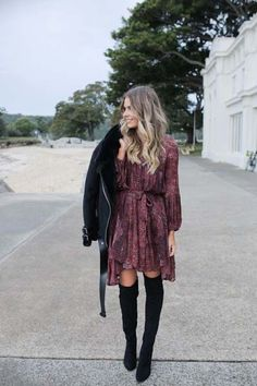 have several over the knee boots so outfits to. have several over the knee boots so outfits to. Comfortable Thanksgiving Outfit Ideas 15 Comfortable (and Cute) Thanksgiving Outfit Ideas - Fashiotopia Over the Knee Boots Winter Dress Outfits, Cute Winter Outfits, Winter Fashion Outfits, Look Fashion, Autumn Winter Fashion, Fall Fashion, Dress Fashion, Fashion Mode, Fall Dresses