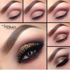 Gold glitter cut crease pictorial