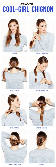 A step-by-step guide to mastering the low chignon like a cool girl (via @byrdiebeauty)