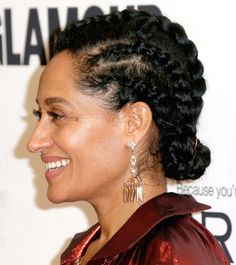The star wove her curls into a head full of wide cornrows, complete with one braid going down the center, then added the final extra-cool touch: a low bun pulling them all together. Box Braids Hairstyles, Cool Hairstyles, Black Hairstyles, Protective Hairstyles, Hot Hair Styles, Curly Hair Styles, Natural Hair Styles, Natural Hair Braids, Natural Updo