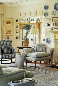 Blue and white plaid heralds Spring in a room designed by Roger Banks Pye.