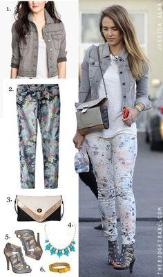 dress-by-number-jessica-alba-s-denim-jacket-and-floral-jeans.jpg (440×747)
