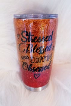 Items similar to Stressed Blessed and Coffee Obsessed / Glitter Tumbler / Stainless Steel Tumbler / Epoxy Tumbler / Coffee Tumbler / Gift / Tumbler on Etsy Mom Tumbler, Coffee Tumbler, Tumbler Cups, Coffee Cups, Vinyl Tumblers, Custom Tumblers, Glitter Cups, Glitter Tumblers, Coffee Presentation
