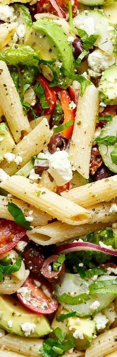 Lemon Herb Mediterranean Pasta Salad ~ Loaded with so many Mediterranean salad i. - Lemon Herb Mediterranean Pasta Salad ~ Loaded with so many Mediterranean salad ingredients, and dri - Mediterranean Pasta Salads, Mediterranean Diet Recipes, Vegetarian Recipes, Cooking Recipes, Healthy Recipes, Cooking Tips, Lemon Herb, Pasta Salad Recipes, Pasta Salad Feta