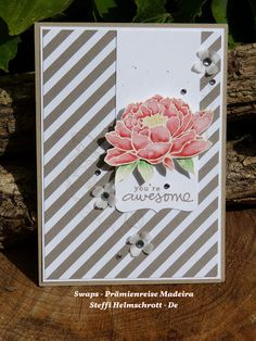 hand crafted card ... You've Got This  flower in lovely watercolors ... diagonally striped background paper ... Stampin' Up!