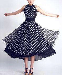 Black chiffon dots dress maxi prom dress wedding dress by xiaolizi Chiffon Maxi Dress, Floral Maxi Dress, Pleated Skirt, Prom Dresses, Bridesmaid Dresses, Summer Dresses, Wool Dress, Linen Dresses, Designer Dresses
