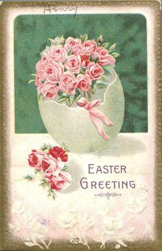 Easter Greeting Roses Pretty Egg Embossed 1910s Postcard | eBay