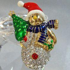 Vintage Rhinestone Snowman Brooch Christmas Pin Santa