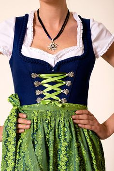 Dirndl Angie blue, including apron with costumes Angermaier buy online