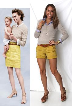 Not crazy about mustard, but I do like the idea of a button up layered with a t or a sweater and some shorts.