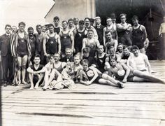Group of competitors in the swimming events at the 1904 Olympics.