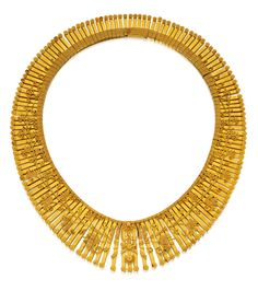 18 Karat Gold Necklace, Eugène Fontenay: The graduated fringe necklace decorated with floral scrollwork accents, gross weight approximately 88 dwts, length 15¾ inches, with French assay and maker's marks; circa 1875.