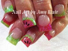 Watermelon acrylic nails