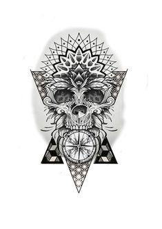Mandala Tattoo Mann, Mandala Tattoo Design, Skull Tattoo Design, Skull Tattoos, Tattoo Designs Men, Leg Tattoos, Tattoos For Guys, Sleeve Tattoos, Geometric Tattoo Forearm