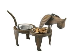 Metal dog bowl set with adorable dog shape and bobble head.  #dogbowl #uniquedogbowl