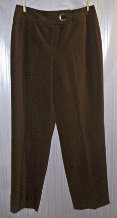 LARRY LEVINE Stretch Brown Dress Pants Size 12 #LarryLevine #DressPants