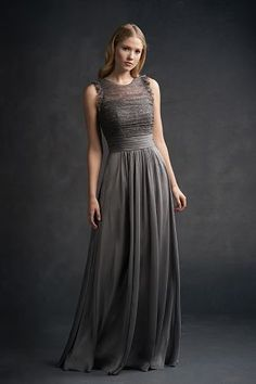 L194056 Belsoie   Really love the soft texture ruffle of this dress in charcoal grey, long flowy skirt, feminine and elegant