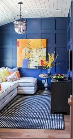Finally, a room with lots of color!  What do you think?  Love the blue paneled walls or no?