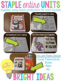 Organize entire TpT units in plastic sleeves -then staple and file- EASY....great website...share with Kristen