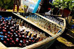 Rustic wedding, boat, beer beverages