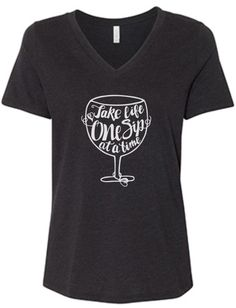 Wine One Sip at a Time Women's Slouchy V-Neck Tee