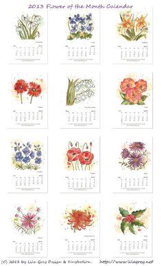 2013 Flower of the Month Printable Calendar by Lila Grey. $10.00, via Etsy.
