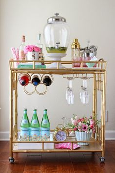 Spring Bar Cart Styling: a mint, pink and gold bar cart display for spring! Don't forget the rosé!